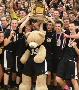 The Lancers' Bear front and center, celebrating with the team, family and fans.