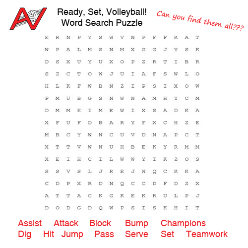 Ready, Set, Volleyball!  Word Search
